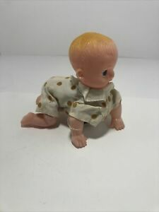 """Vintage 5"""" Celluloid Tin Mechanical Wind up Toy Crawling Baby Doll Japan Works"""