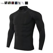 Mens Compression Shirt Mock Quick-dry Base Layer Training Basketball Long Sleeve