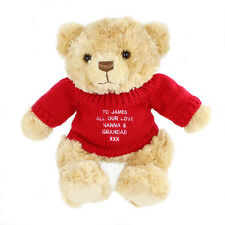 PERSONALISED MESSAGE TEDDY BEAR WITH RED JUMPER BIRTHDAY CHRISTMAS