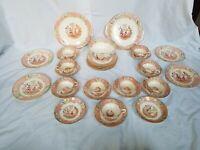 Antique Chinoiserie imari Handpainted Pagoda China tea plate bowl cups Set
