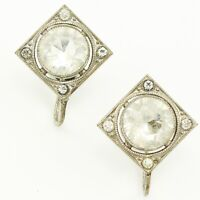 VINTAGE Clear CZECH GLASS Square Silvertone Screw Post EARRINGS Statement ESTATE