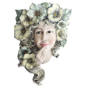 Wall Sculpture Fence Hanging Decor Flower Fairy Outdoor Girl Face Garden Statue