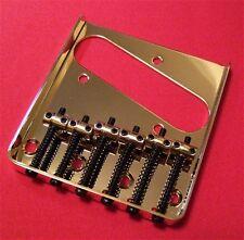 Guitar Parts TELECASTER BRIDGE - Vintage 6 Saddle - Top & Bottom Load - GOLD