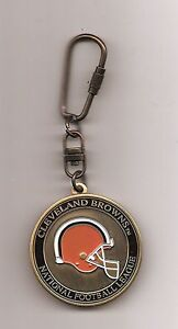 New NFL Cleveland Browns 2 Sided Metal Keychain with Twist Open Keyring