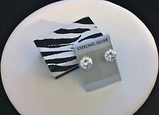 7 KT Cubic Zirconia Stud Earrings-All Sterling Silver .925-Round-Big-Large-Post