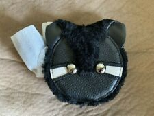 NWT COACH racoon Coin Purse Leather Shearling Trim Brown Case Bag black