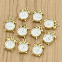 3D Alarm Clock Charm Pendant 10pcs 10*15mm for DIY Bracelet Making Alloy Enamel