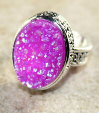 SILVER Vintage Style Pink Red Rainbow Titanium Druzy 15x20mm Ring Size 8