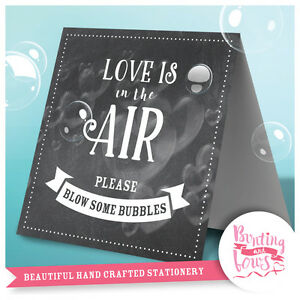 Wedding Table Top Love is in the Air Vintage Wish Bubbles Sign Chalkboard Print