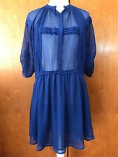 Anthropologie Staring At Stars Sheer Navy Blue ShirtDress Long Sleeve Pintuck S