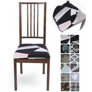 Dining Chair Seat Cover Stretch Removable Seat Kitchen Slipcover Protector Deocr