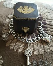 Silver Tone Juicy Couture Curb Link Charm Bracelet 2 Charms Crown, Key