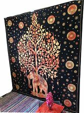 Tree Of Life Psychedelic Queen Wall Hanging Elephant Tree Tapestry Ethnic Throw