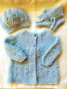 * Premature * 3 Piece Baby/Dolls Jacket Set * Pale Blue * Aust Hand Knitted *