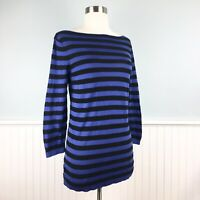 Size Medium M Ann Taylor Loft Blue Black Stripe Knit 3/4 Sleeve Shirt Top Blouse