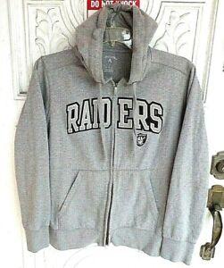 Oakland Raiders Full Zip Antigua Hoodie Athletic Gray Size L Sweatshirt, NICE LN