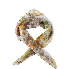 Small Square Silk Chiffon Scarf Green Theme Floral Print ZFS005