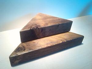 Corner shelves  Sets of 3 or 6  Small Medium & Large  Dark Oak 🇬🇧