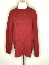 IRELANDS EYE Womens Knit Sweater Wool Fisherman Cable Knit Pullover Red XXL NWT