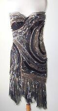 ROBERTO CAVALLI Black Silk Sequin Beaded Jeweled Bustier Corset Dress 44 8