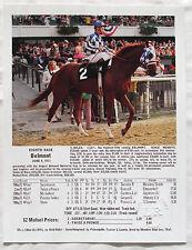 Secretariat Belmont Stakes Triple Crown Ron Turcotte 1973 Photo with Chart