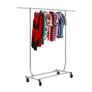 Rolling Garment Rack Collapsible Heavy Duty Clothing Hanging on Lockable