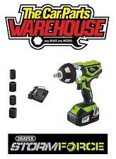 "Draper Storm Force 20v Cordless 1/2"" Impact Wrench 01031 Gun inc four sockets"