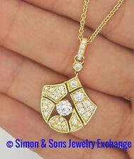1.36 Ct. NEW NORMAN COVAN 18K YELLOW GOLD ROUND DIAMOND PENDANT NECKLACE VVS - E