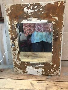 Retro Vintage Metal Wall Mount Medicine Cabinet Chippy Paint Beveled Mirror