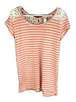 Pink Lemonade Girls Short Sleeve Striped Coral White Shirt Size 7 Lace Button