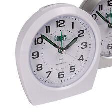 White Big Digit Analogue Radio Controlled Alarm Clock (AA Battery Powered)