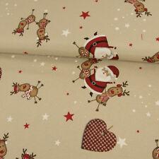 Dekostoff Weihnachtsmann & Rentiere beige Dekorationen
