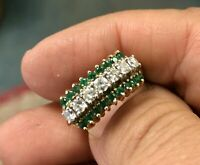Gorgeous 2.85Ct Emerald & Diamond 14k Yellow Gold Over Vintage Cluster Ring