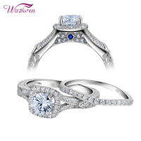 Women Wedding Band Engagement Ring Set Halo Round Cz 925 Sterling Silver Sz 5-10