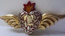 Mexican Folk Art Wing Milagro Heart Ex Voto Charm Gold Leaf Wall 12x7