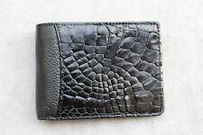 Black Genuine Alligator ,Crocodile Leather Skin Men's Money Clip WALLET