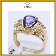 ESTATE TANZANITE RING 14K GOLD & DIAMONDS PEAR SHAPE tanzanite ring SIZE 7 (yx2