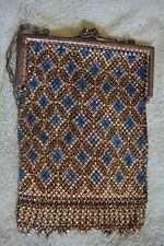 TJ-011 Mandalian Blue Diamond Pattern Mesh Purse Flapper Era Pretty Art Deco