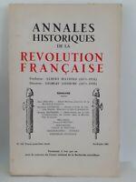 Rivista Annali Storici Della Revolution Francaise Aprile-Giugno 1962 N° 168