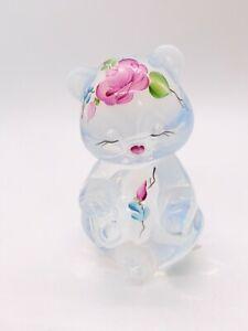 Fenton Vaseline Art Glass Pink Rose Flower Teddy Bear Figurine Signed S Davis 3