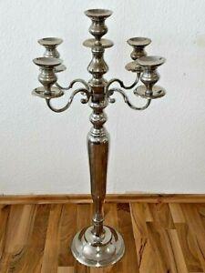 Kerzenständer 5-armig Kerzenleuchter Kandelaber aus Metall außen versilbert