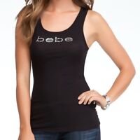 bebe Basic Logo Shirt Tank Top Ribbed Knit Black Plus Size 3X Black #2089P  Y4