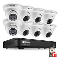 ZOSI 1TB 8CH 1080N DVR 1500TVL Outdoor IR LEDs Dome CCTV Security Camera System