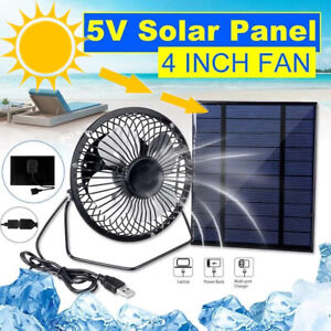 Solar Powered Fan Portable Mini Ventilator Greenhouse Pet Dog Chicken House Cool
