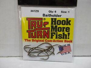 30 Hooks   #077S Vintage New TRU TURN  WORM Fishing HOOKS cam action  SIZE 4//0