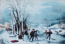 Currier and Ives Winter Passtime Iceskating Christmas
