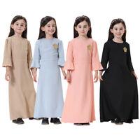 Kids Girls Muslim Dress Long Sleeve Holiday Abaya Islamic Child Kaftan Arab Robe