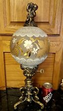 GONE WITH THE WIND Vintage ORNATE Lamp CHERUB PUTTI GORGEOUS Glass Shade Germany