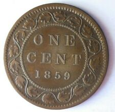 1859 CANADA CENT - RARE DATE - Excellent Scarce Coin - Lot #A10