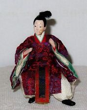 "Antique Japanese Semi-Seated 5 3/8"" Male Attendant Hina Doll BH7#AD4161415.8"